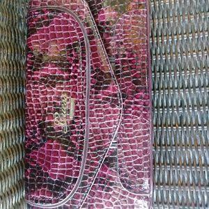 Guess dark red&black snakeskin clutch